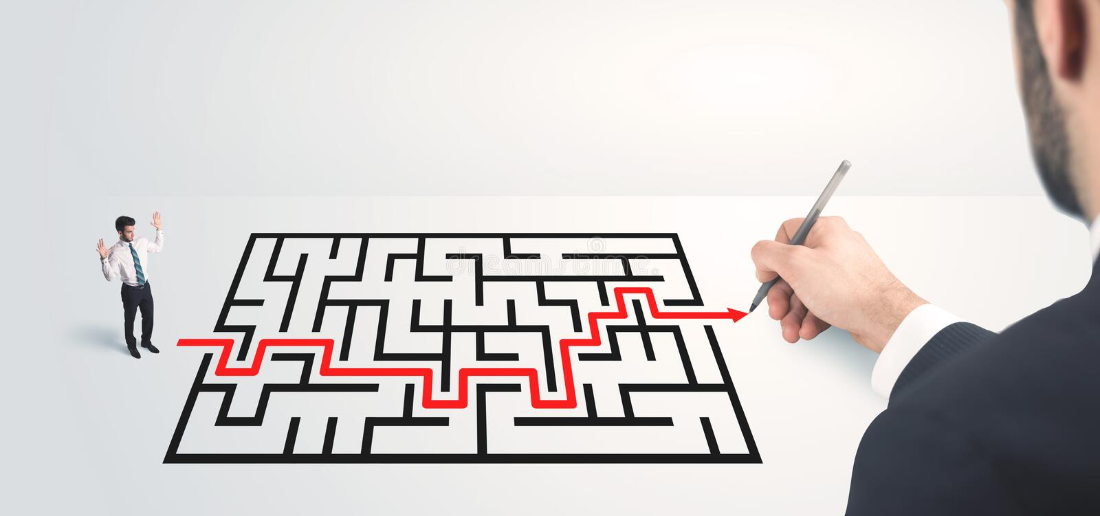 Business man looking at hand drawing solution. Maze solution concept stock image