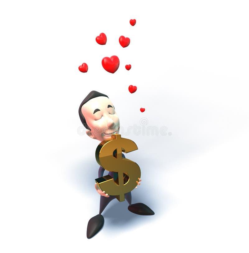 Business man loves money stock illustration