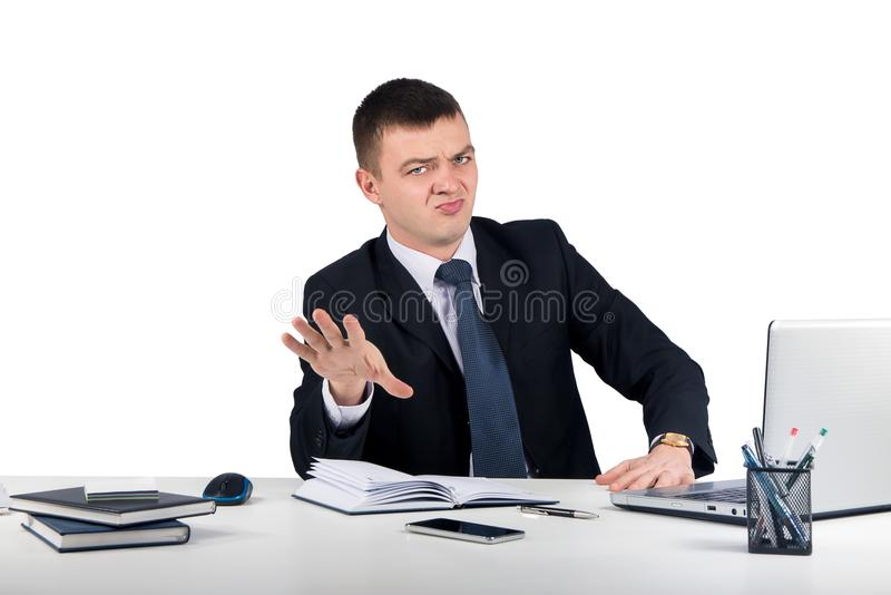 Business man making stop at the office royalty free stock photos