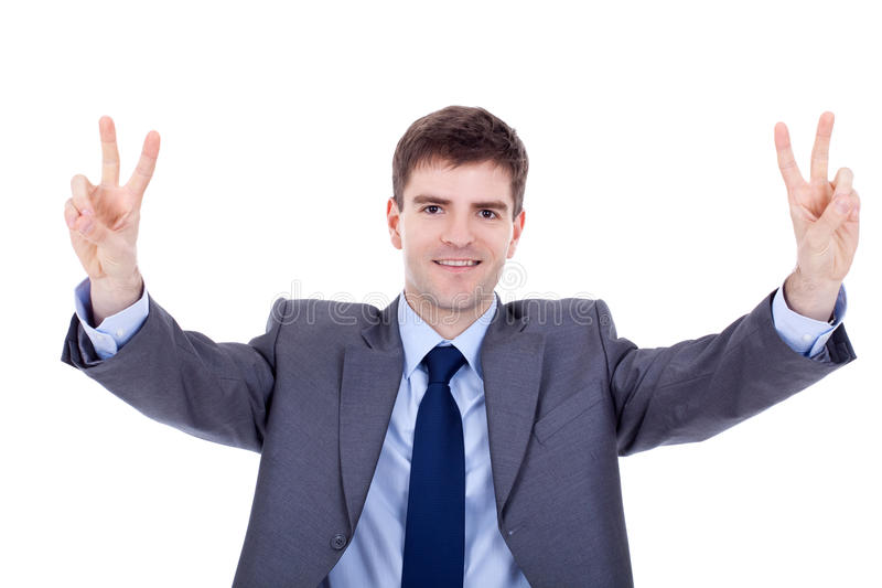 Download Business Man Making Victory Gesture Stock Photo - Image: 18593248