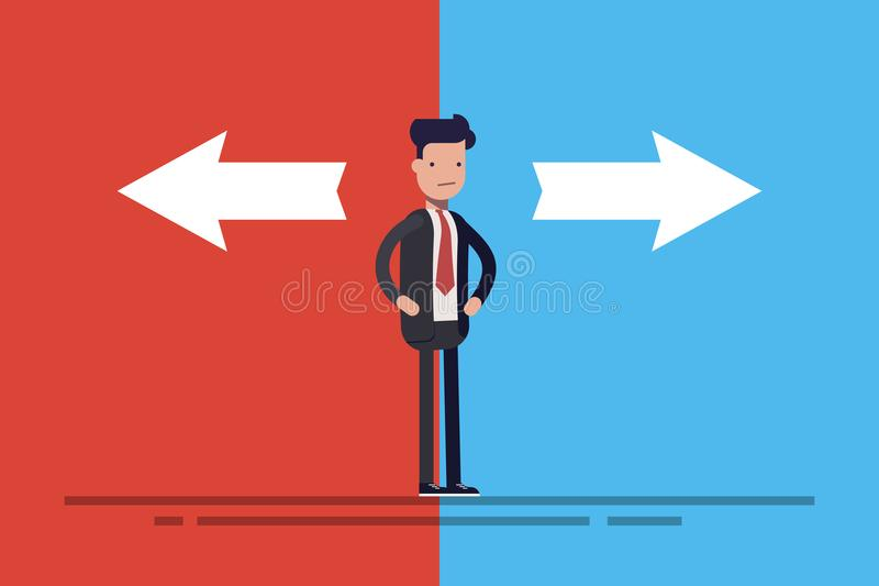Business man or manager in doubt standing in front of two arrows on blue and red background. Concept flat vector stock illustration