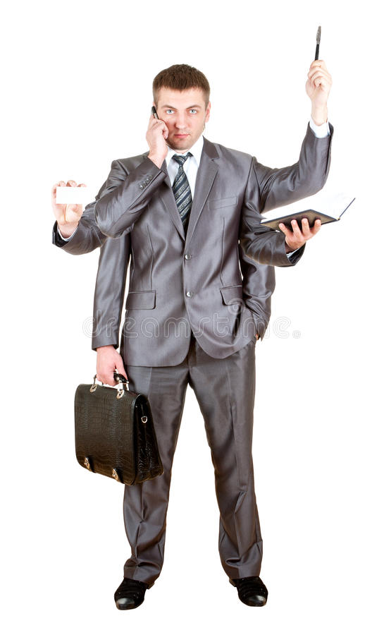 Business man with many hands stock images