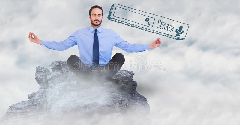 Business man meditating on mountain peak among clouds with green search bar stock photos