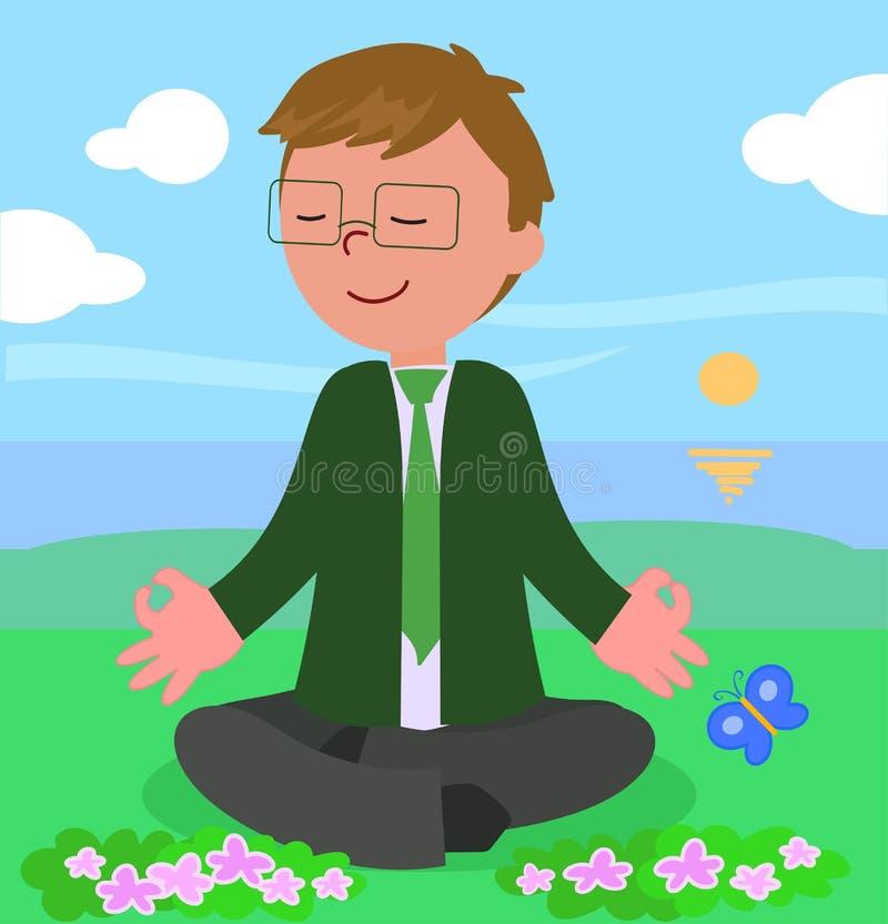 Business man in meditation pose vector stock illustration
