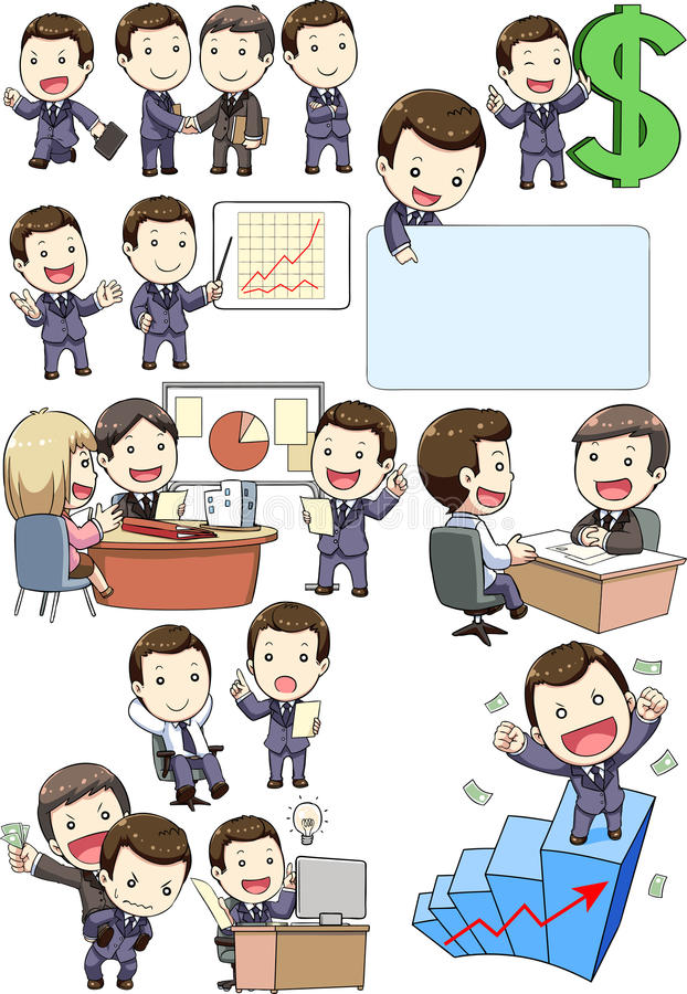 Business man meeting and partners. Business man meeting the partners , interview ,planning and competitive with cartoon funny stock illustration