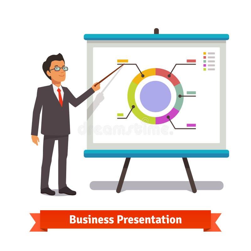 Business man mentor delivering presentation speech stock illustration