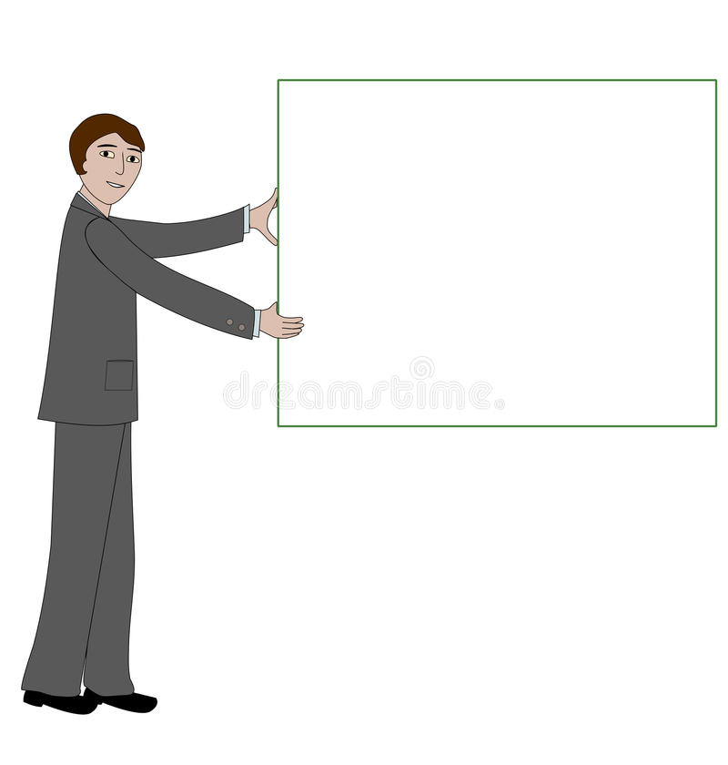 Download Business Man With Message Board Stock Vector - Image: 32542607