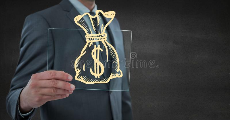 Business man mid section with glass device and yellow money doodle against grey wall stock image