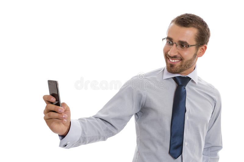 Business man with mobile camera stock photo