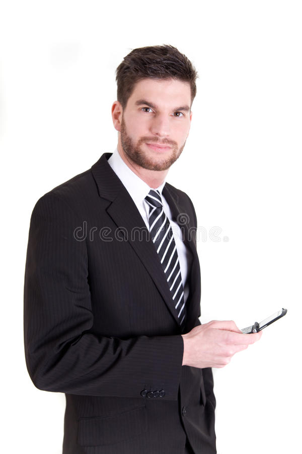 Business man with mobile phone stock image