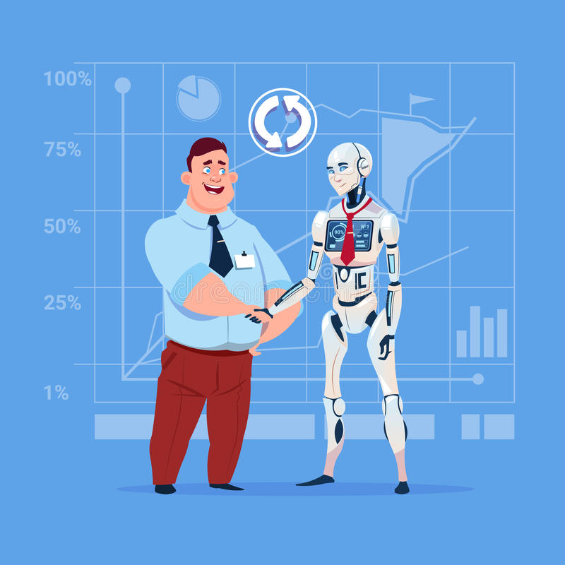Business Man And Modern Robot Shaking Hands Artificial Intelligence Cooperation Concept. Flat Vector Illustration stock illustration