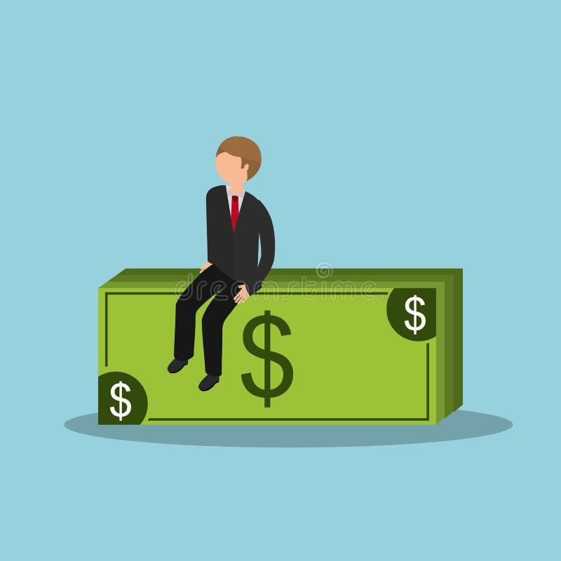 Business man and money bills. Businessman sitting on money bills icon over blue background. colorful design. illustration royalty free illustration