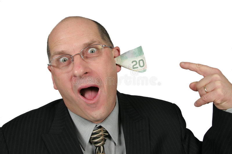 Download Business Man With Money Coming Out Of His Ears Stock Photo - Image: 1772200