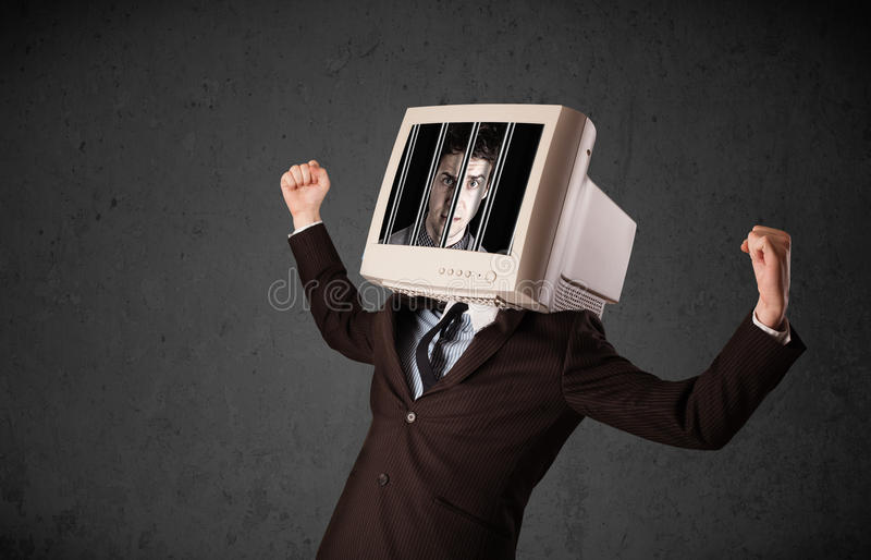 Download Business Man With Monitor On His Head Traped Into A Digital Syst Stock Image - Image of arrest, bars: 33624497