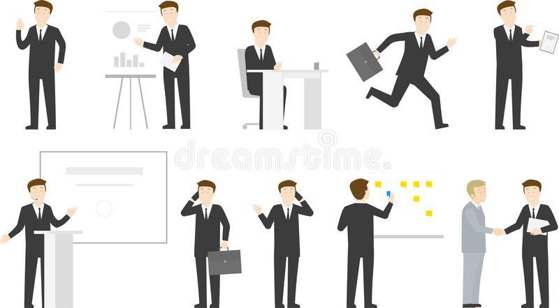 Business man office life character set stock images