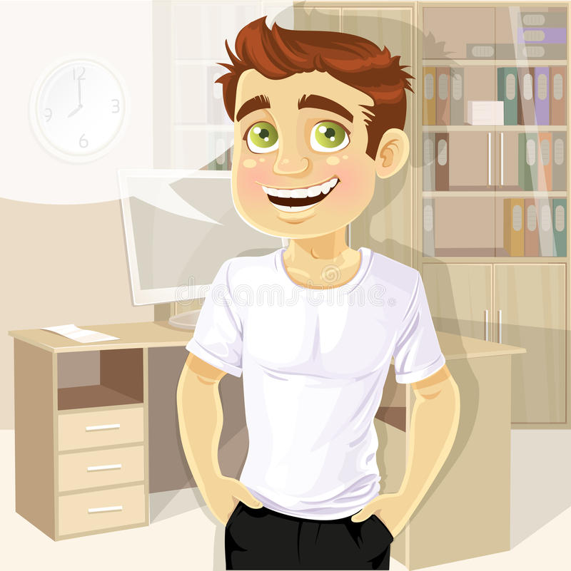 Business man in office shows a T-shirt for print