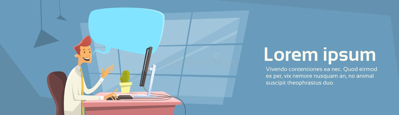 Business Man Office Workplace Desktop Computer Send Message Chat Communication Banner With Copy Space stock illustration
