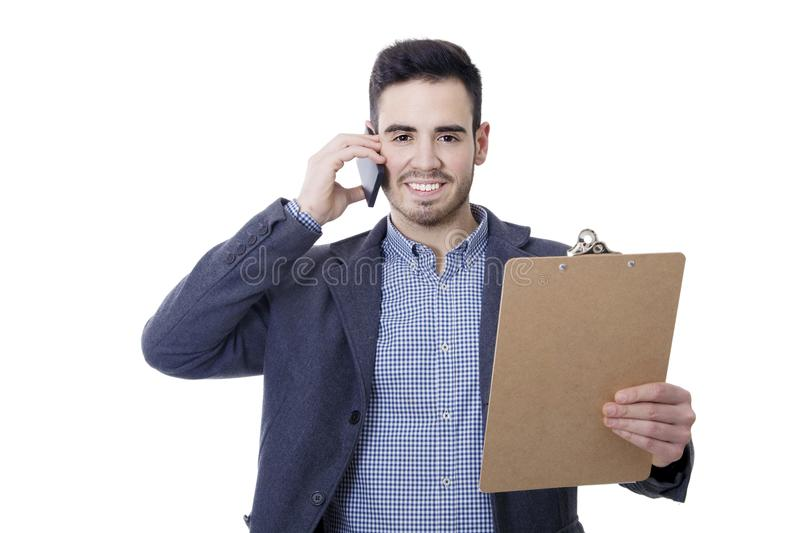 Business man and offices. With mobile phone stock photos