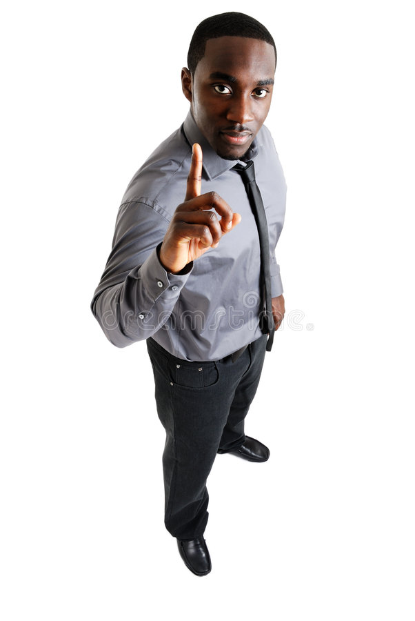 Business man with one finger up stock photography