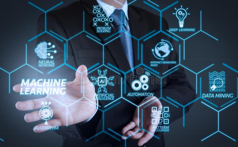 Business man with an open hand as showing something. Machine learning technology diagram with artificial intelligence (AI),neural network,automation,data mining stock photos