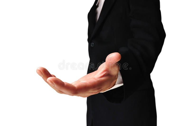 A business man with an open hand. Ready to seal a deal on white background with clipping path royalty free stock photo