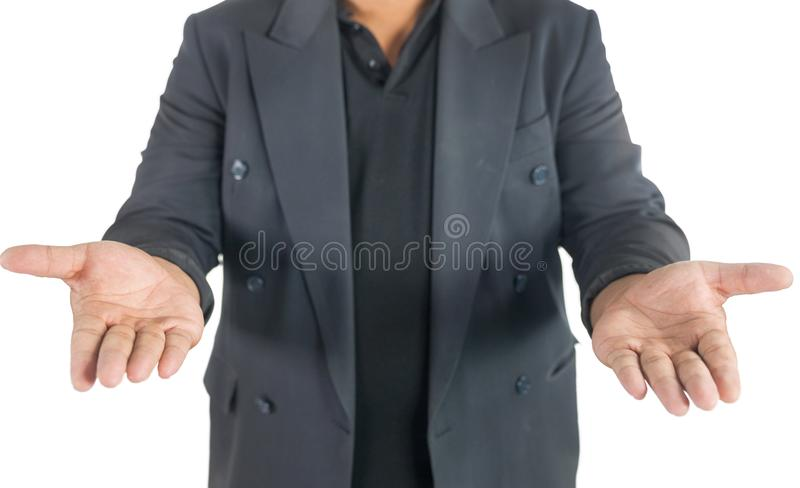 Business man with open hands on white stock photography