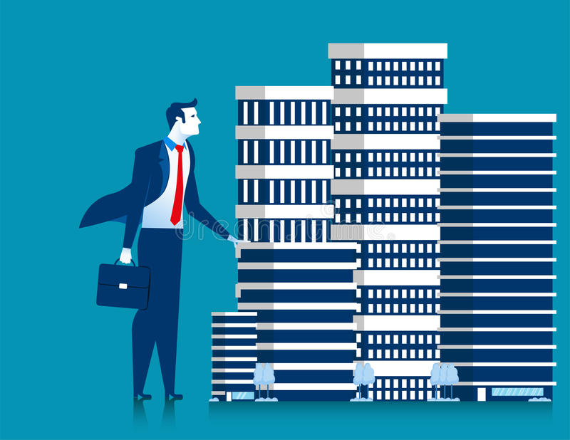 Business man owner of skyscraper buildings property standing. stock illustration