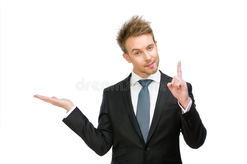 Business man with palm up forefinger gestures royalty free stock image