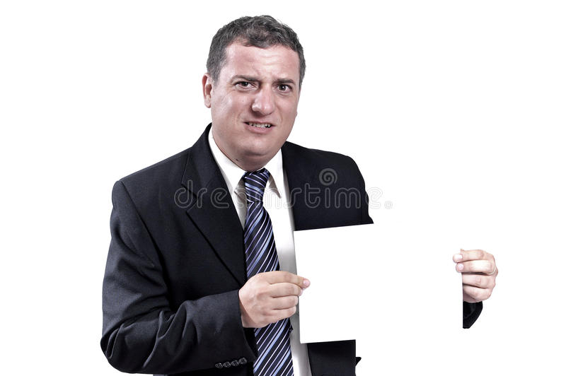 Business man with a paper in hands royalty free stock images