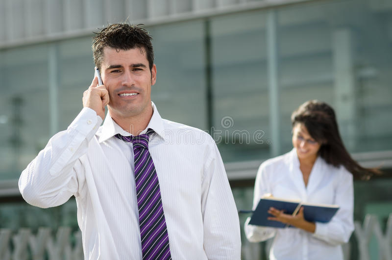 Business man with phone stock photo