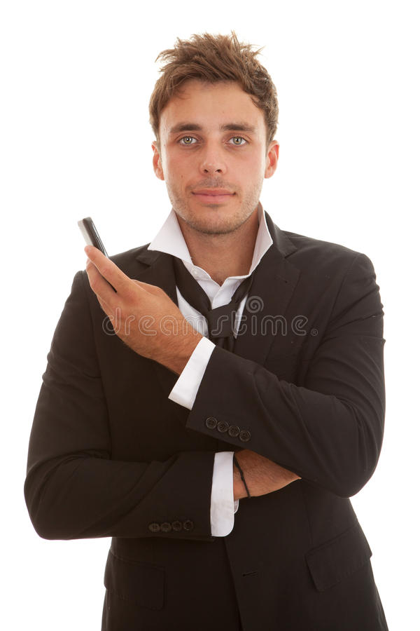 Business man with phone stock image