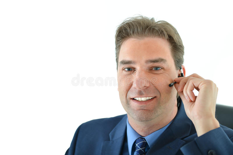 Download Business Man On Phone Or Customer Service Representative Stock Photo - Image: 83717990