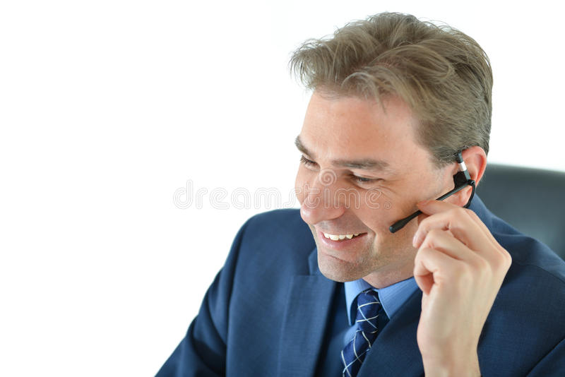 Download Business Man On Phone Or Customer Service Representative Stock Photo - Image: 83717994