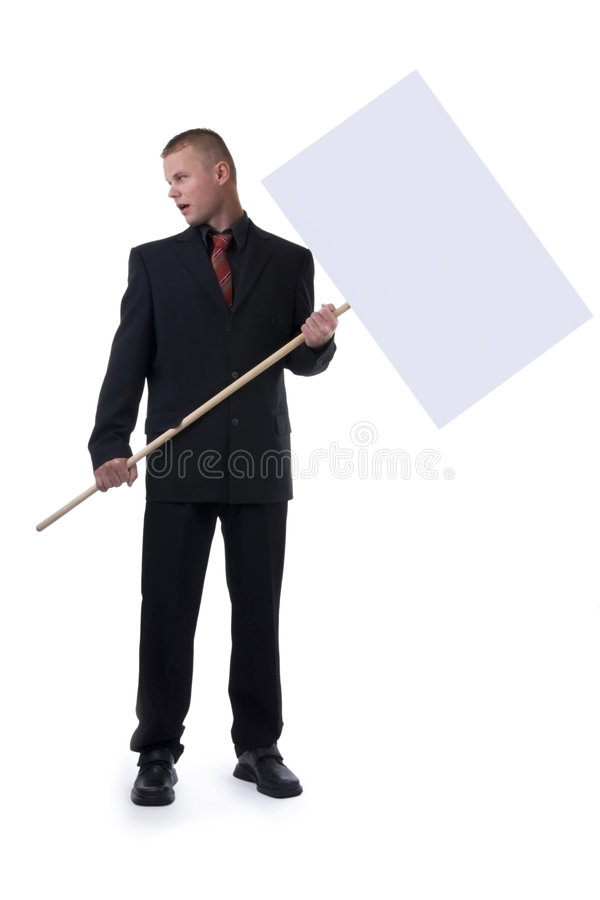 Business man with picket. royalty free stock photo