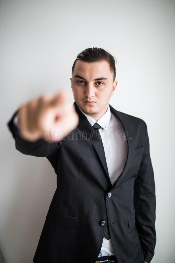 Business man pointed tirh finger on you. Sad business man pointed tirh finger on you stock photos