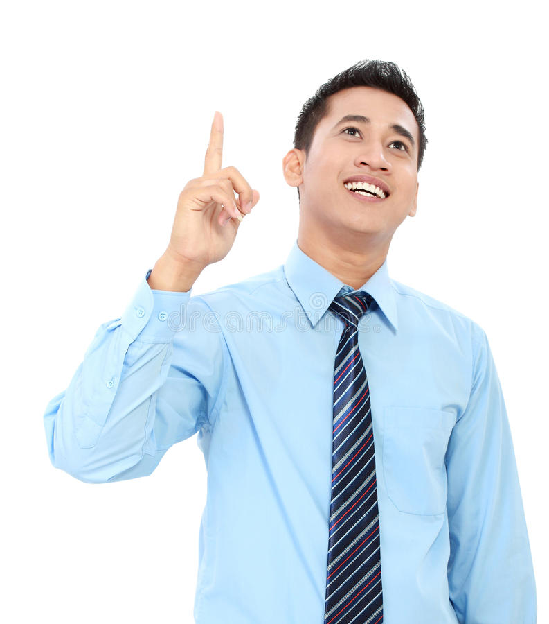 Business man pointing at blank space stock image