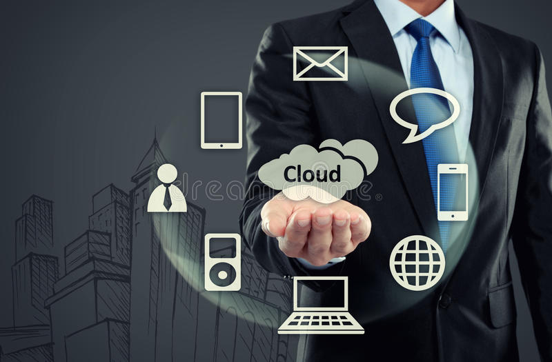 Business man pointing at cloud computing royalty free stock image