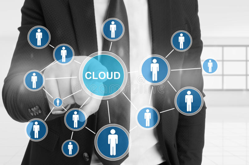 Business man pointing the cloud icon on screen stock image