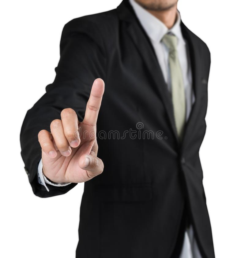 Business man pointing finger soft focus stock photo