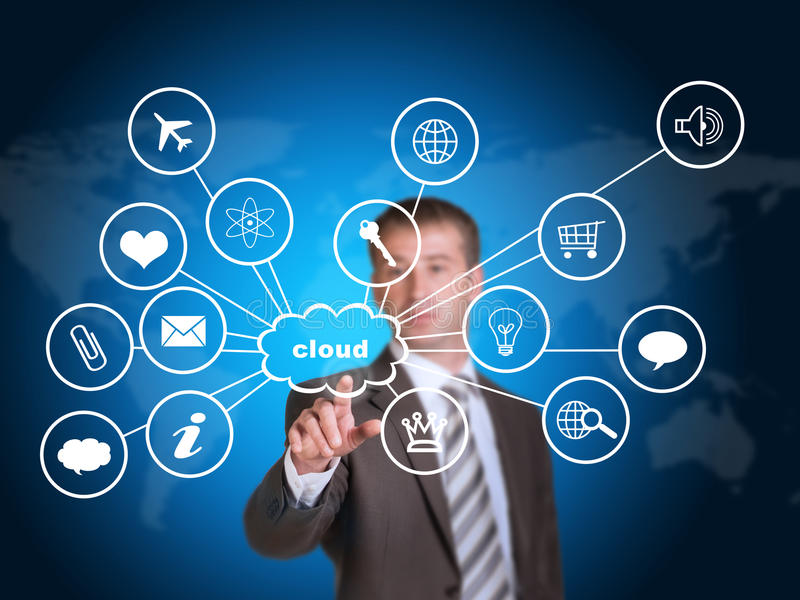 Business man pointing her finger at cloud with royalty free stock images