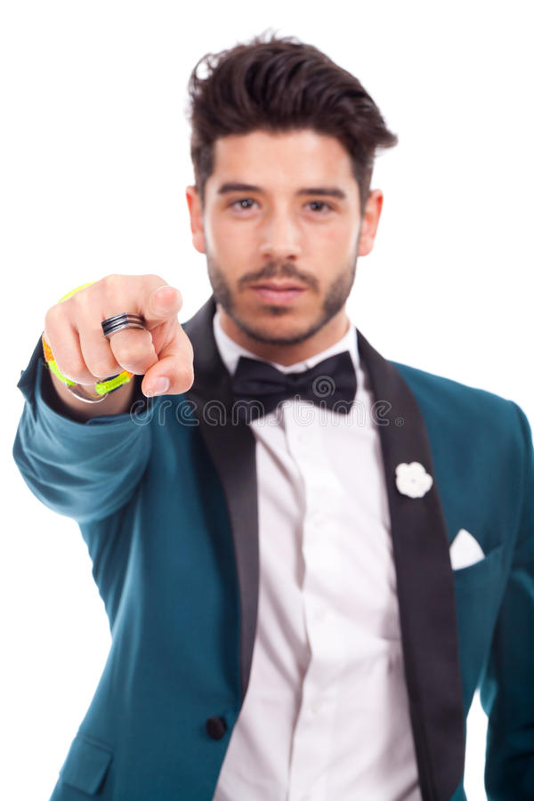 Business man pointing at something royalty free stock photography