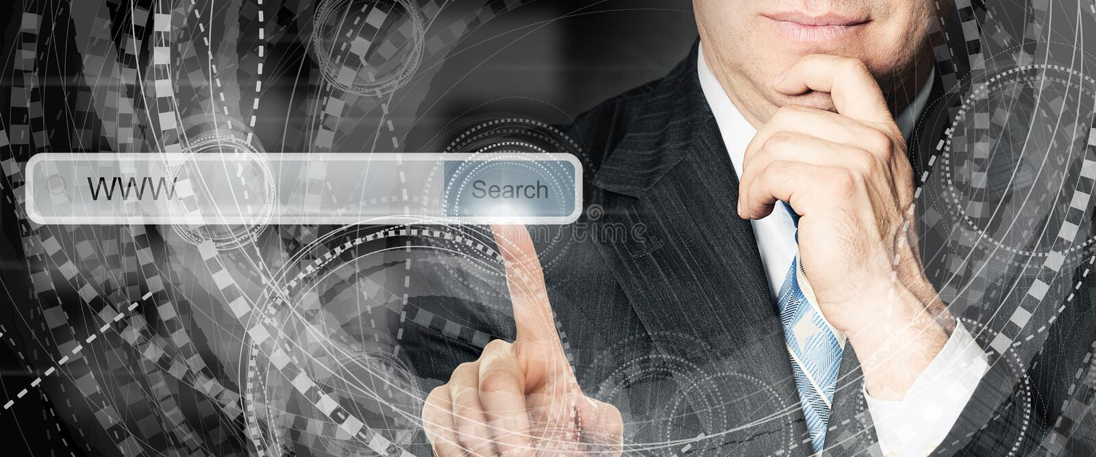 Business man pointing to empty address bar in virtual web browser. Seo, internet marketing and advertising marketing concept.  stock photography