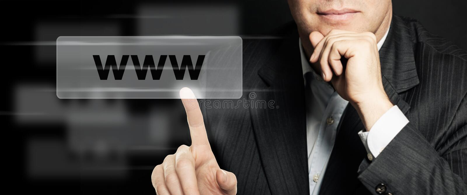 Business man pointing www address bar. Seo, internet marketing and advertising marketing concept. Human Hands Closeup royalty free stock images