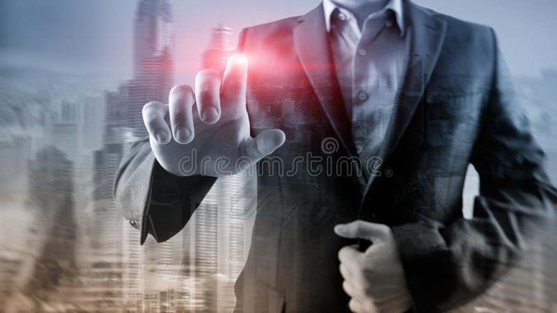 Business man points his finger at you in the office. City background vector illustration