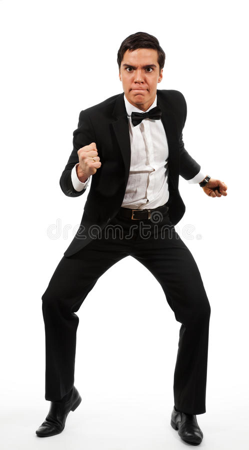 Business man prepared to fight stock photography