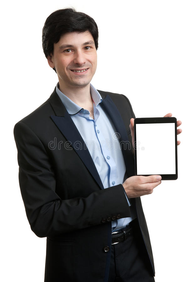 Business man presenting digital tablet with blank screen. Cheerful young businessman presenting digital tablet with blank screen stock photos