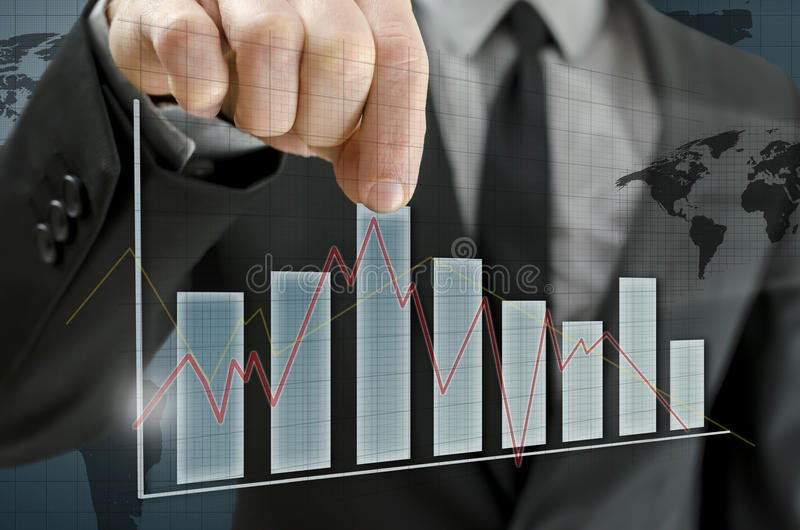 Business man presenting interactive graph royalty free stock photos