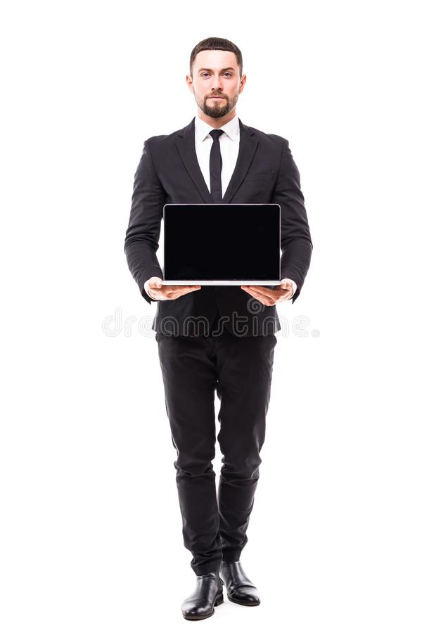 A business man presenting on a laptop on white background stock photos
