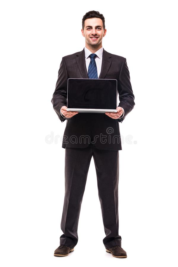 A business man presenting on a laptop on white background royalty free stock photography