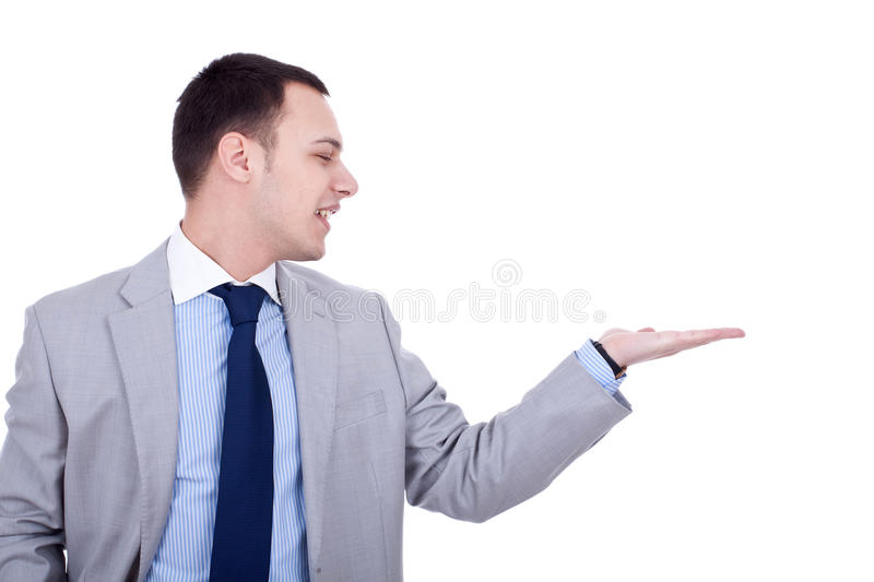 Download Business Man Presenting Something Stock Photo - Image of white, hand: 18360638